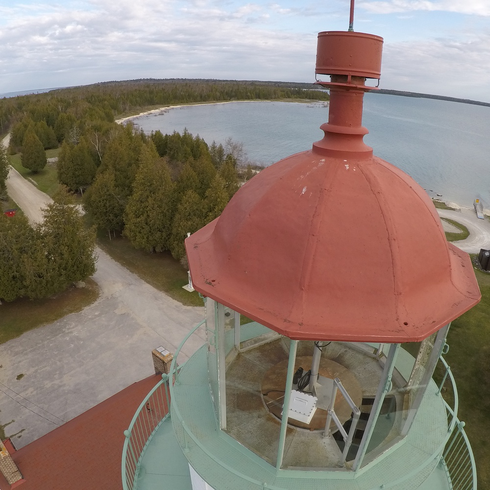 Light house metal roof drone inspection, Lake Michigan