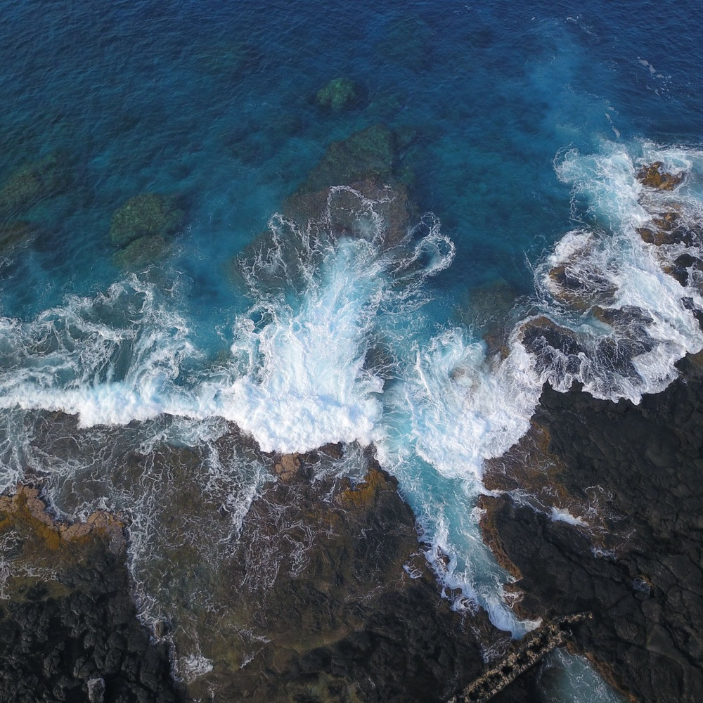 Waves Crashing (Birdseye view)