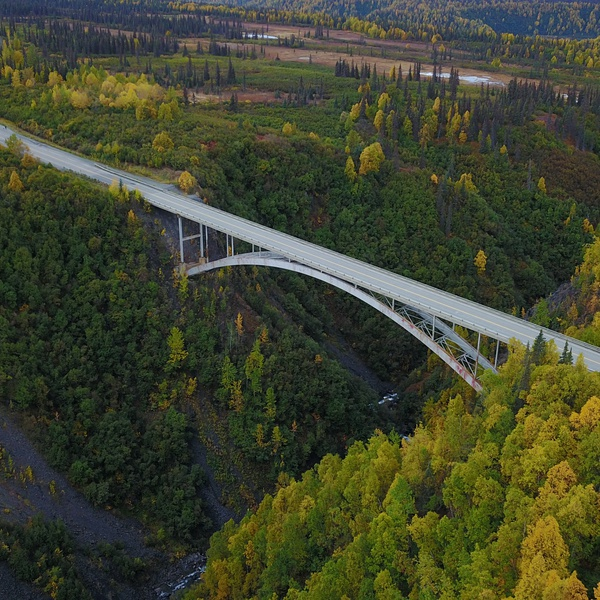Bridge over Hurricane Gulch in Alaska