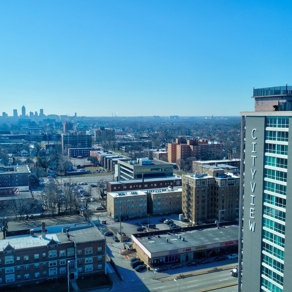 Cityview on Meridian (Indianapolis North Side) on a clear winter day