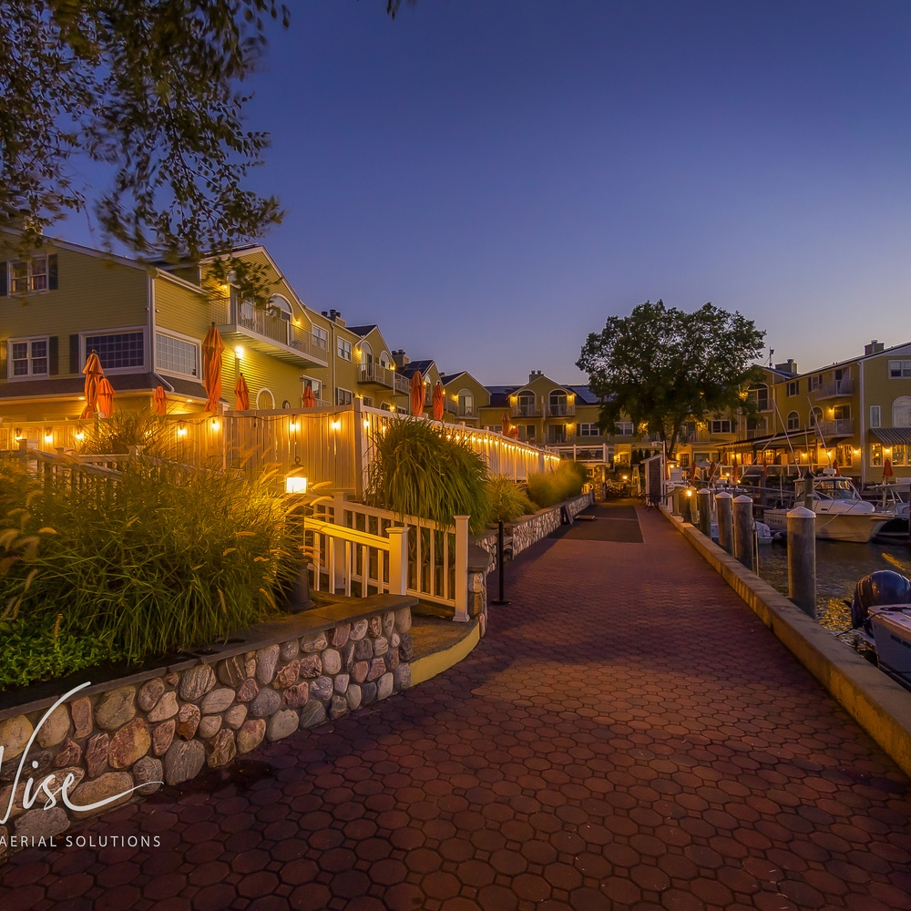 Sunset on the walkway at a year-round resort in Old Saybrook, CT