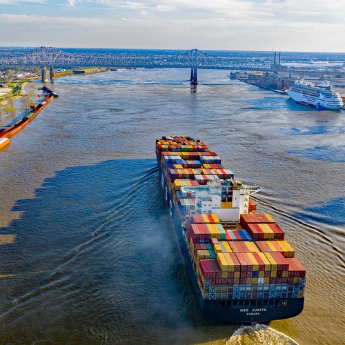 Cargo ship at New Orleans