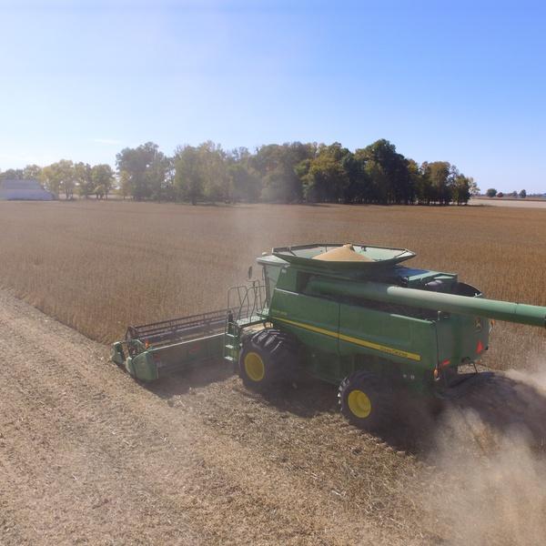 Aerial Combine Harvest Photo
