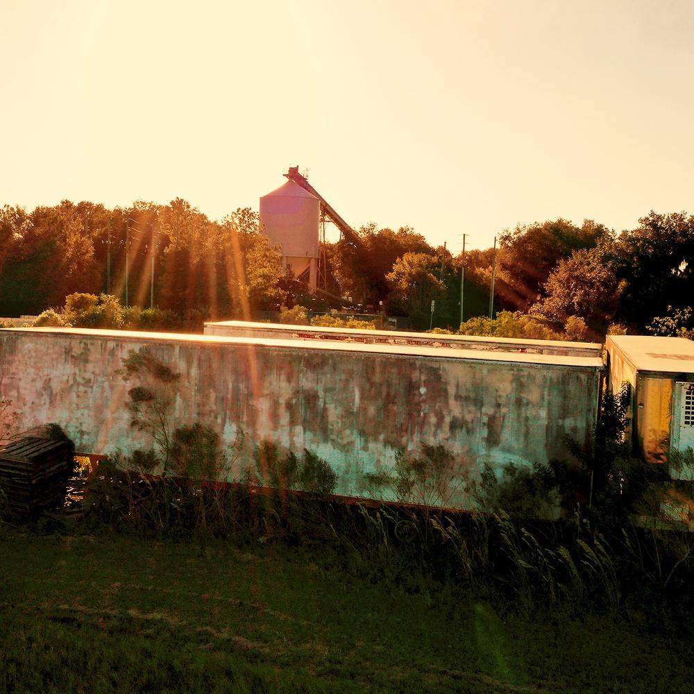 Abandoned Trailer at Sunset