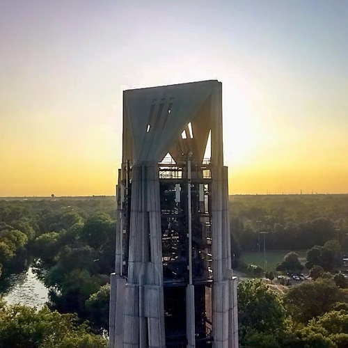 Overview of bell tower in Naperville, IL