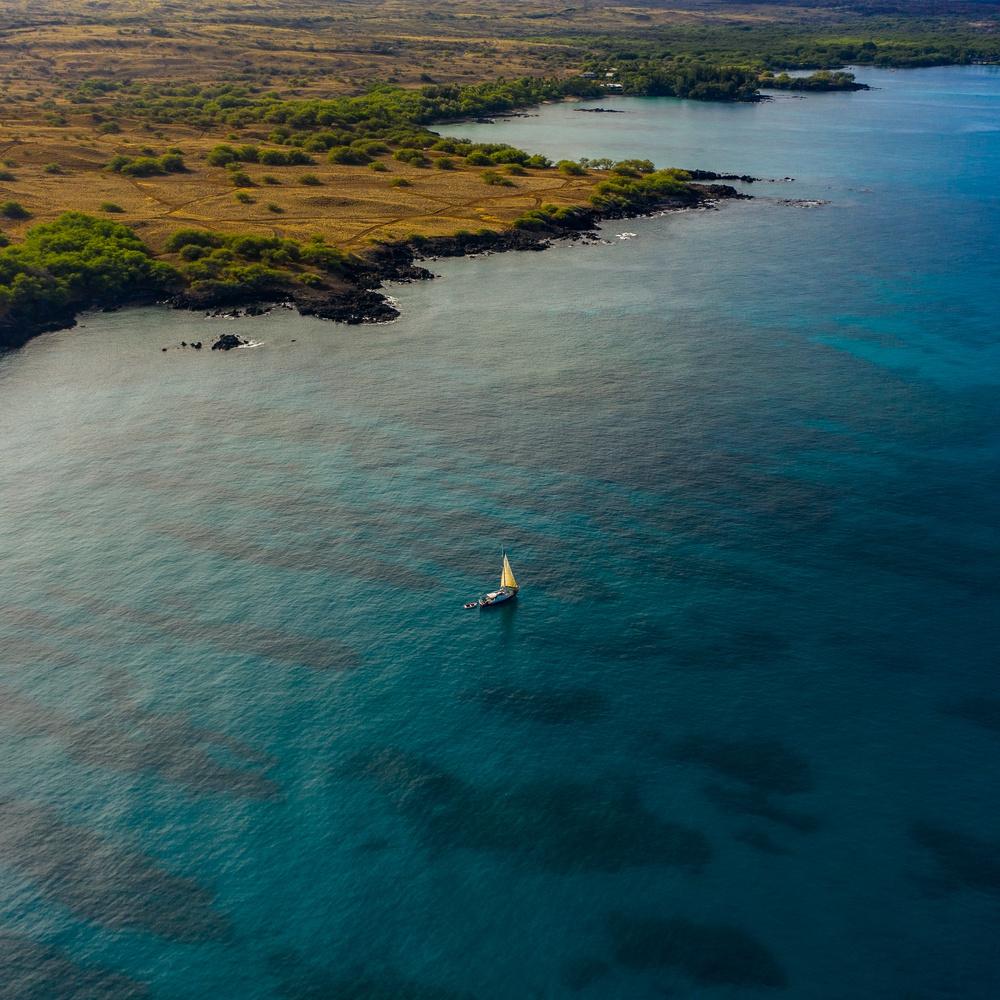 Sailboat Anchored in Hapuna Bay, HI