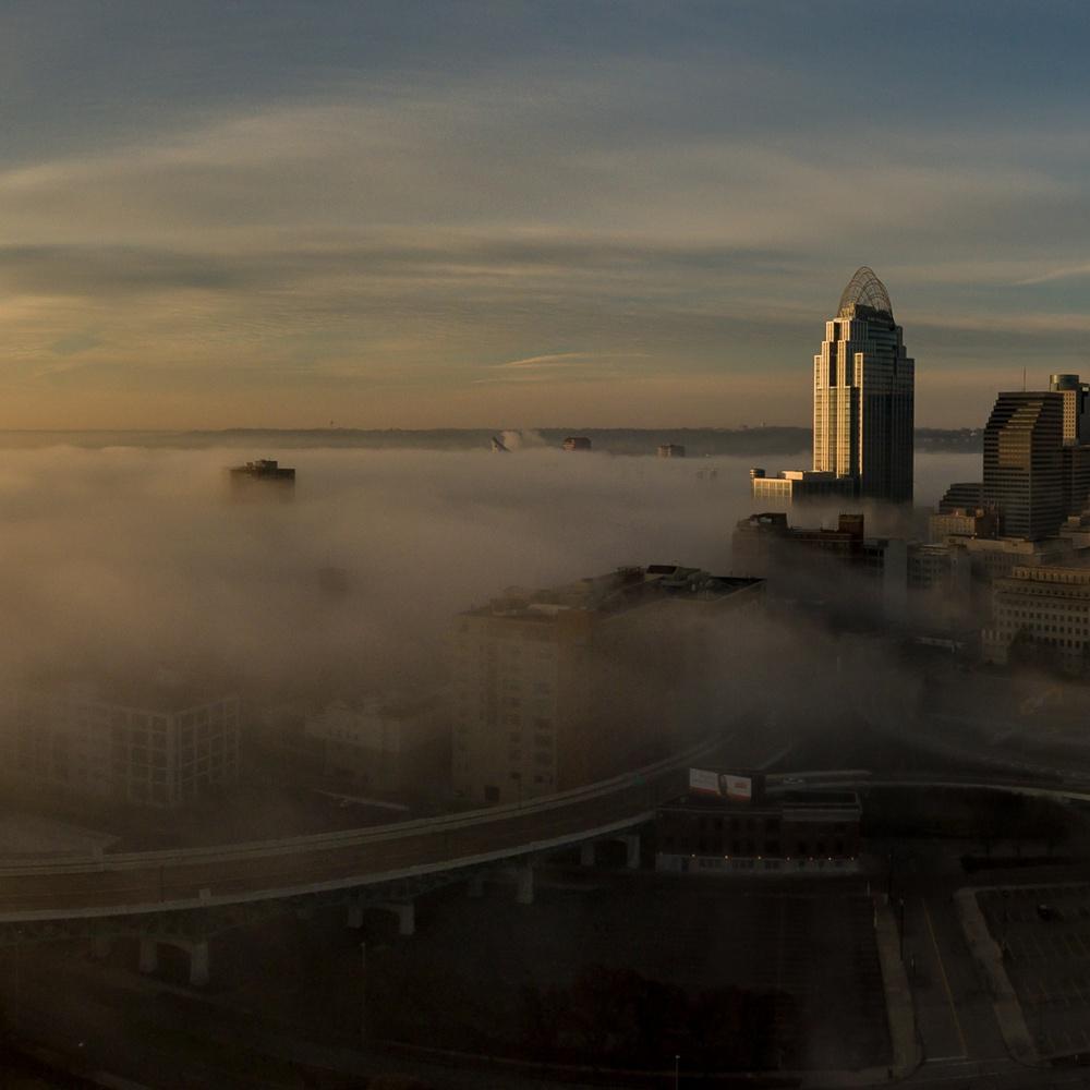 City skyline with fog