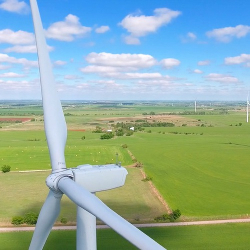 Windmills in rural Oklahoma