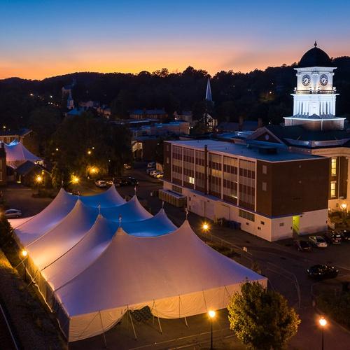 A dusk shot of the National Storytelling Festival Grounds. Highligh...