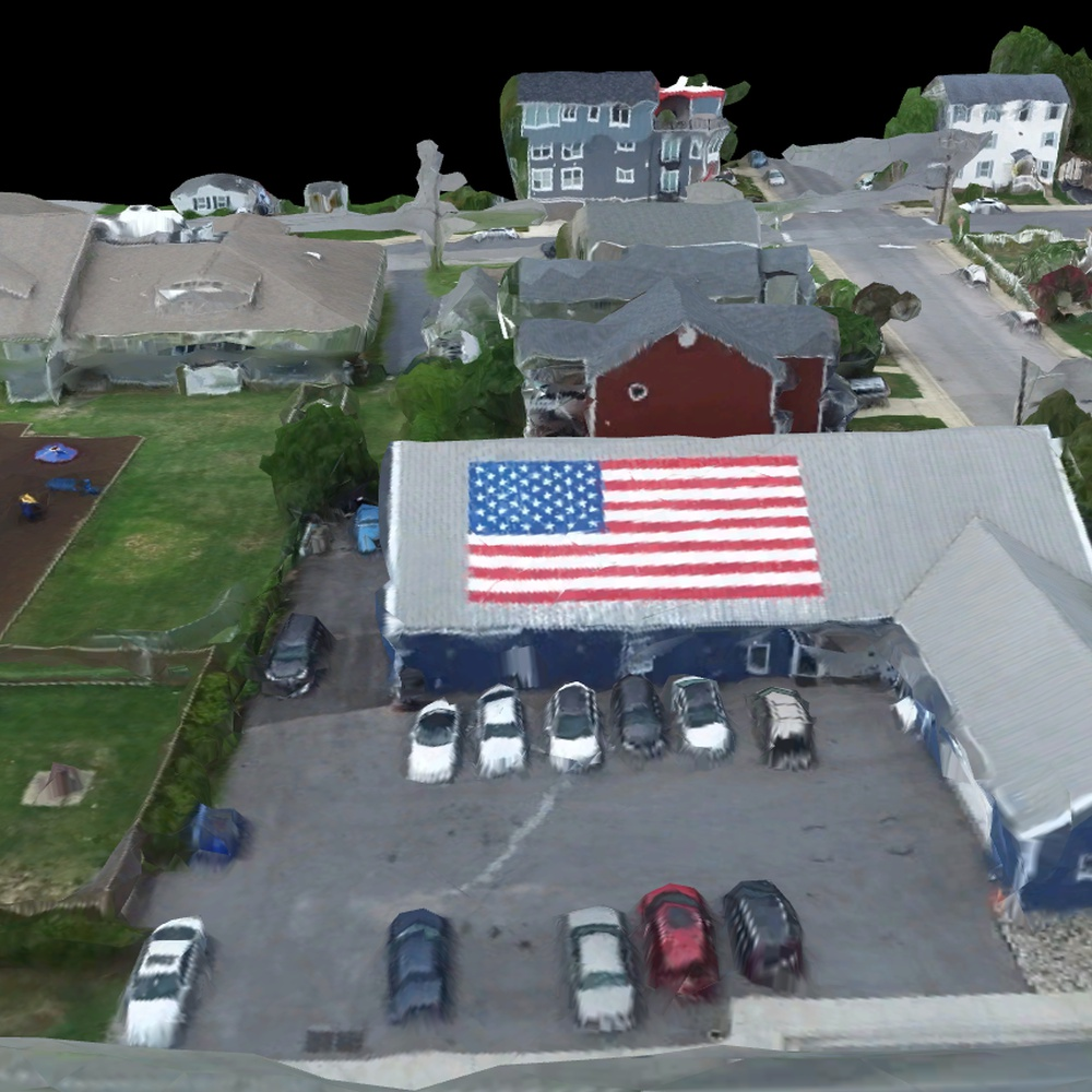 3D Rendering of Triton's Garage Rooftop American Flag - North Beach Maryland