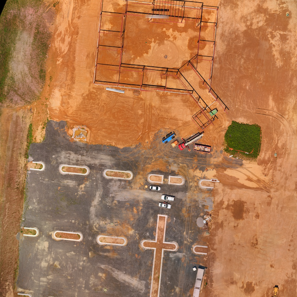 3D Modeling - Steel Building Construction Site - Overhead View