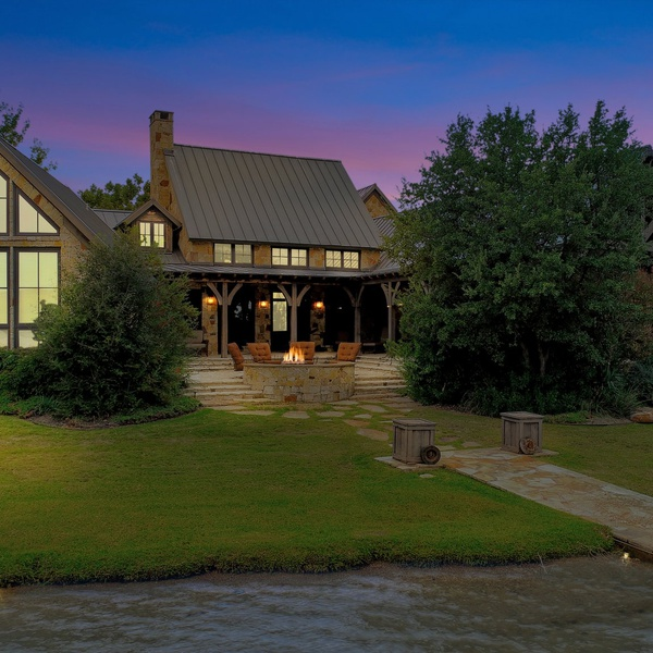 Aerial Above Water View - Twilight Lake Front Real Estate