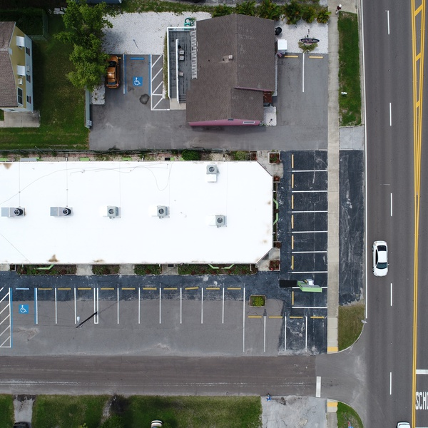 Commercial building and parking lot