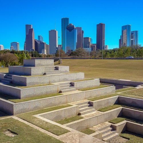 Downtown Houston with view of the HPD memorial park