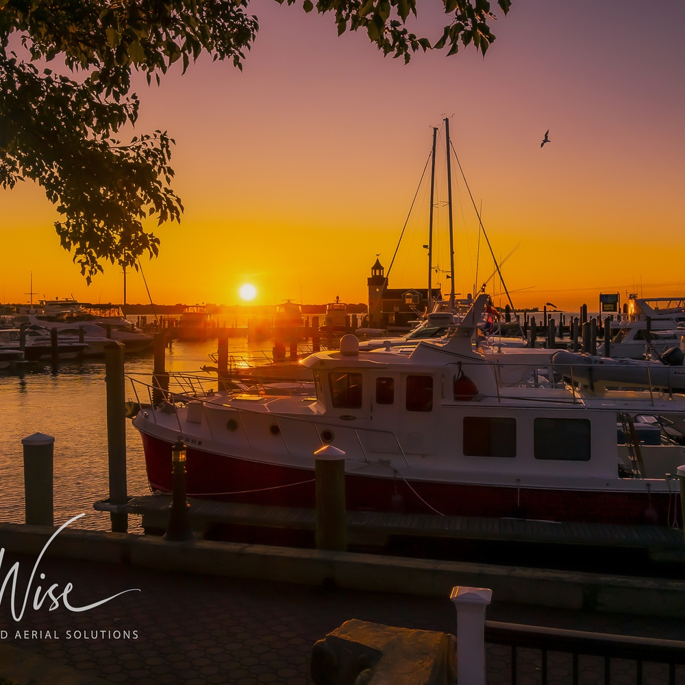 Sunrise on the docks at a year-round resort in Old Saybrook, CT