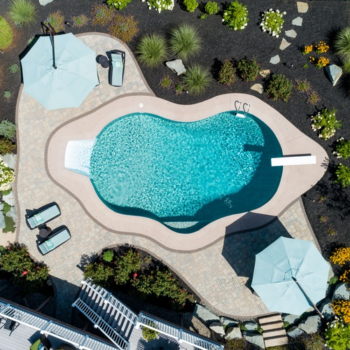 Aerial Photography - Bird's Eye View - Landscape Design and Pool In...