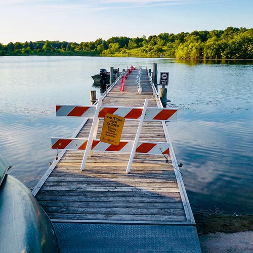 Closed bridge on the lake