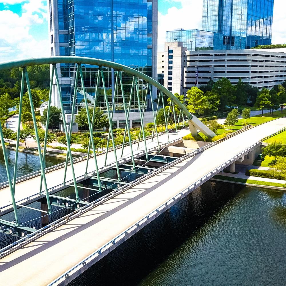 Bridge over the waterway in The Woodlands, TX