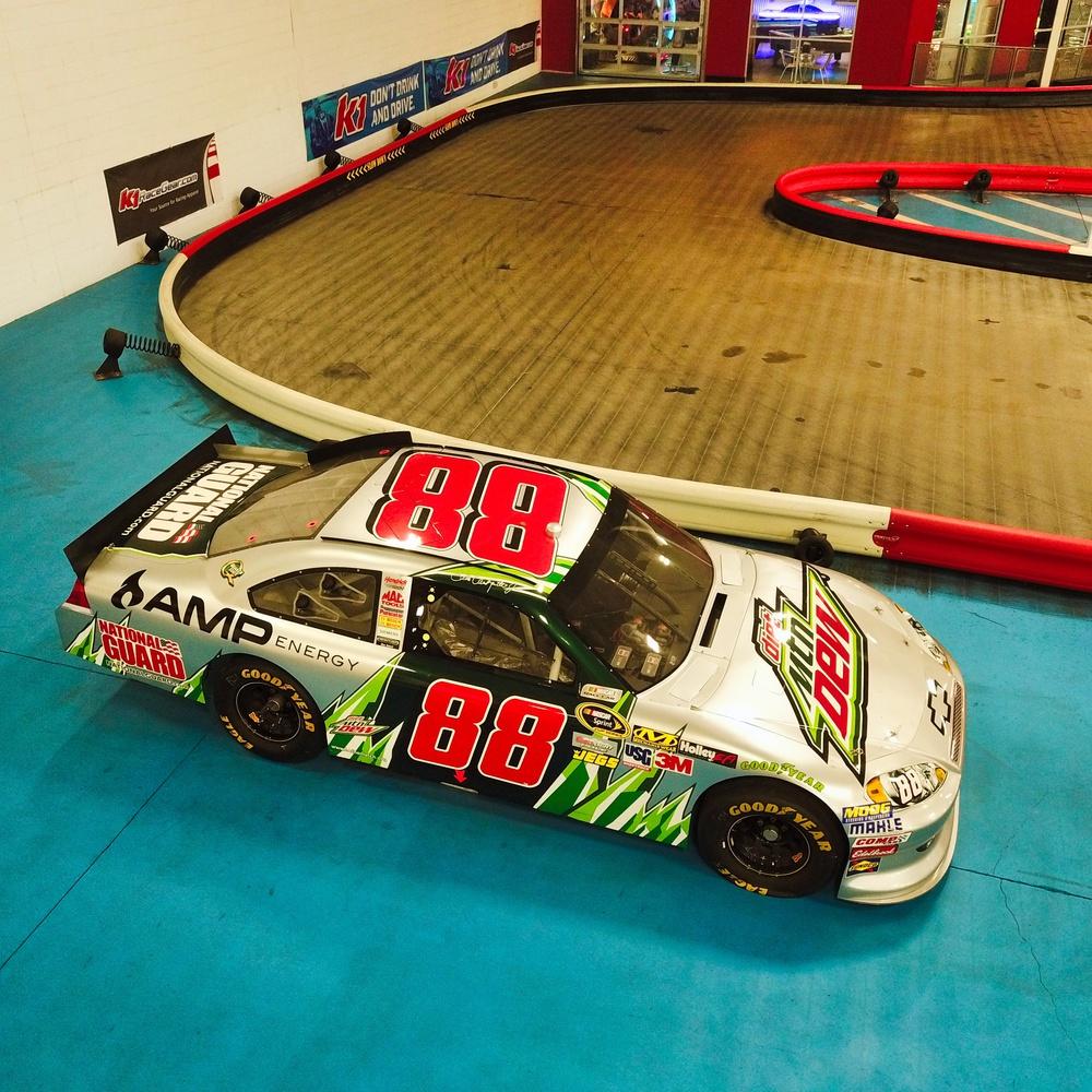 Interior Aerial Shot of NASCAR Race Car
