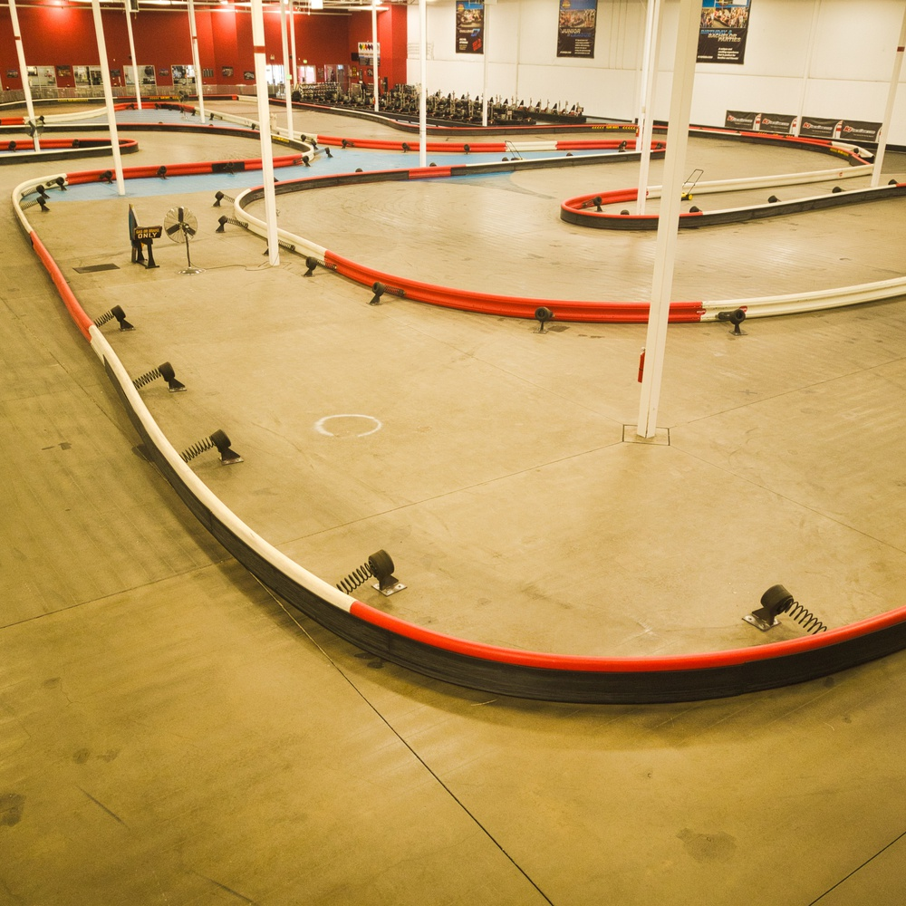 Interior Aerial Shot of K1 Speed Indoor Kart Racing Track, Littleton, CO