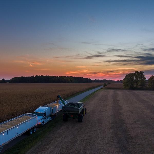 Harvest scene over northern Indiana