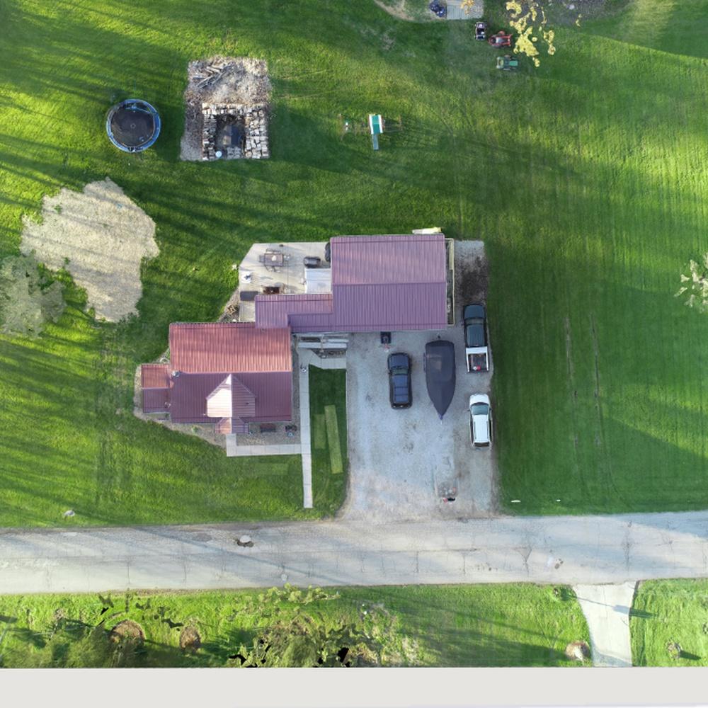 Aerial View Metal Roof