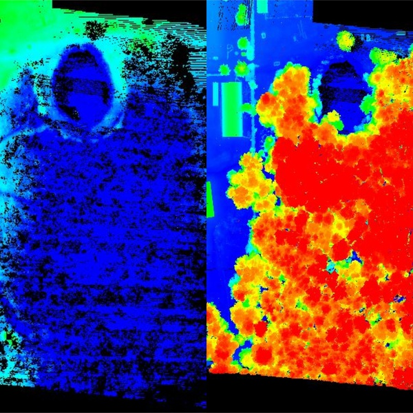 """Leaf on"" vegetation penetration (ground data on the left)"