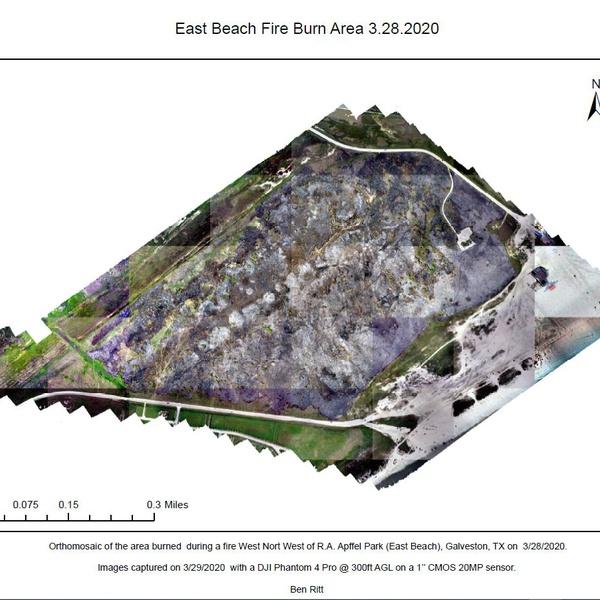 Survey of wildfire damage at East Beach Park, Galveston Island, TX