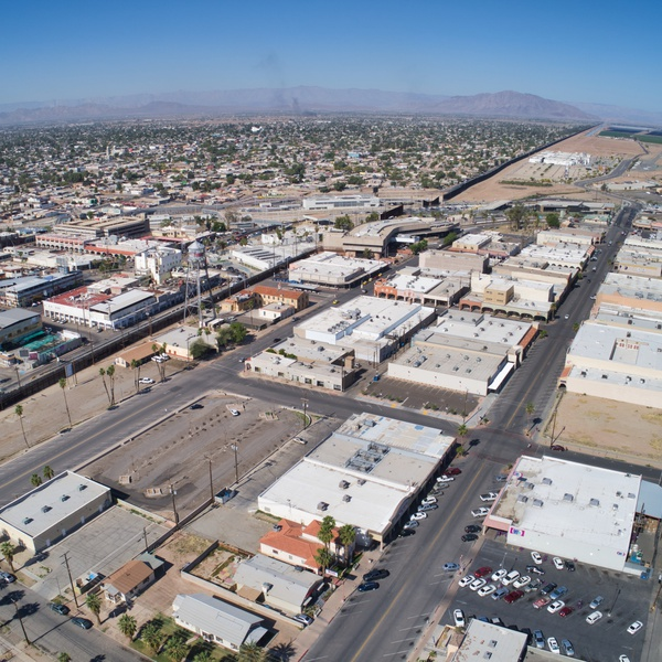 Commercial real estate in Calexico (Mexicali on the left)