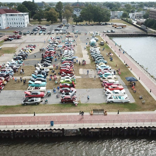 Classic car show on the water front
