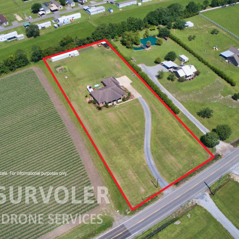 Residential Aerial with Property Line