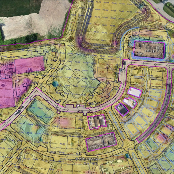 this is a screenshot of a geo located .kmz mosaic/cutfill map for a job site