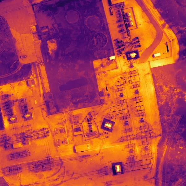 FLIR Thermal Image Sensor Derived Power Line Sub Station Orthomosaic Map