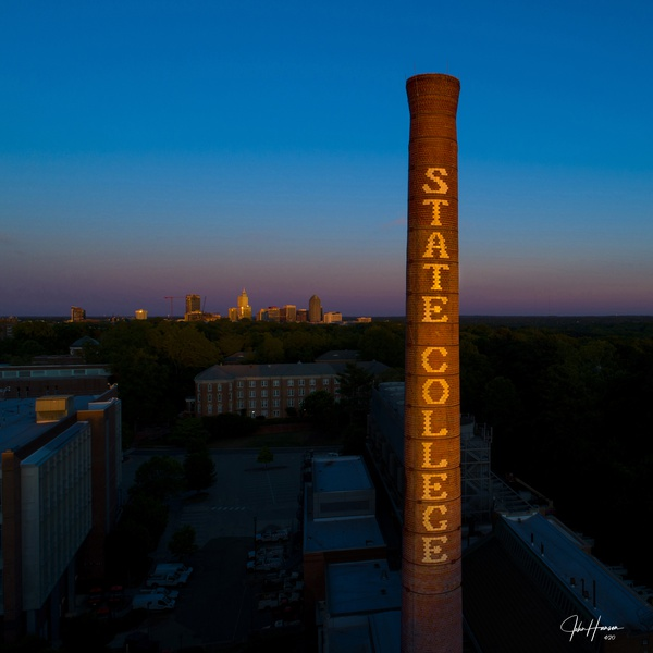 NC State Smokestack at Dusk