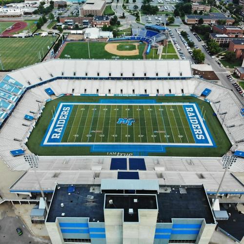 Aerial of football stadium