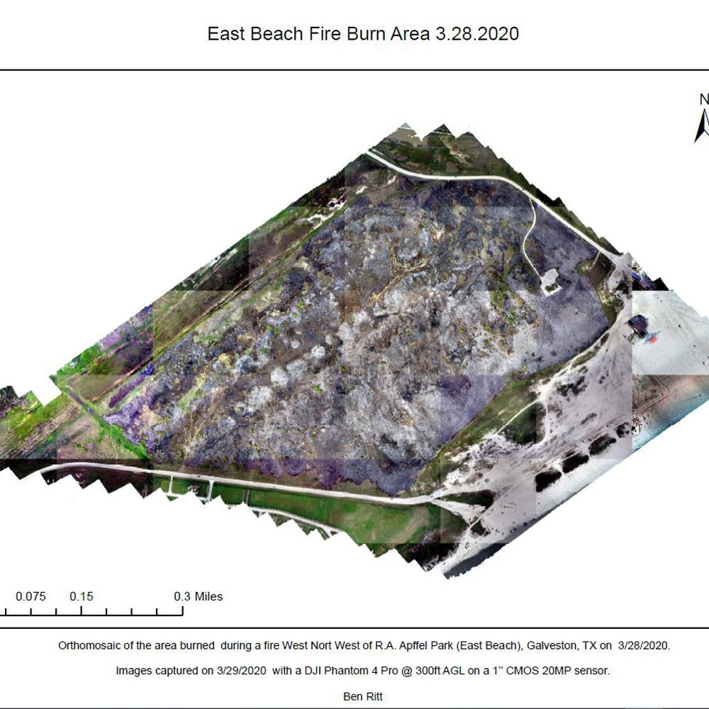 Survey of wildfire damage at East Beach Park, Galveston Island, TX