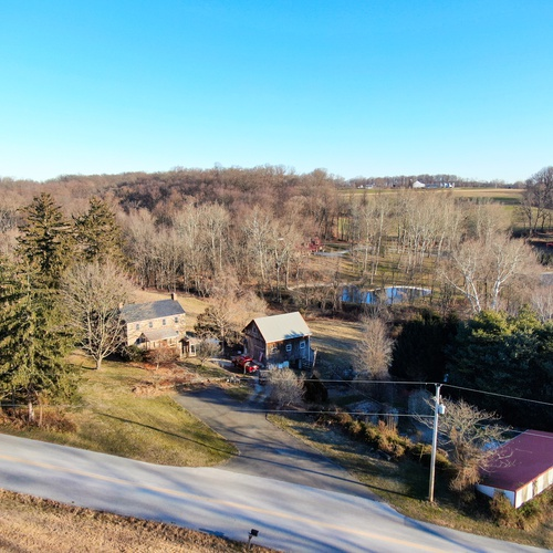 Aerial of Old Country Home