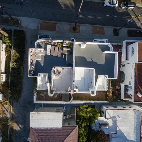Downward view of split roof duplex