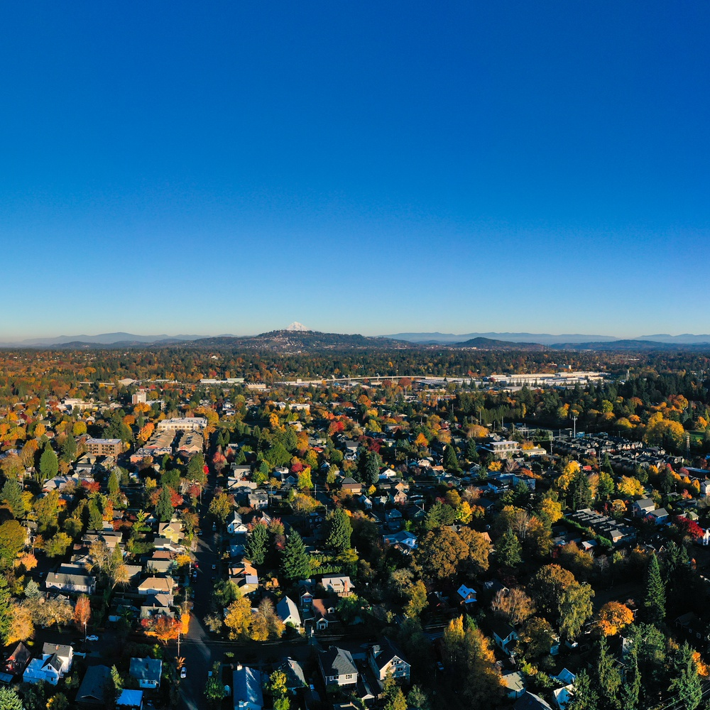 Looking Southeast in Portland towards Mt. Hood and Mt. St. Helens