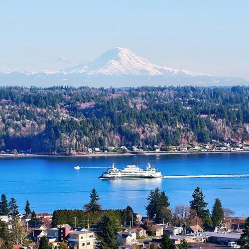 Mount Rainier and Washington  State Ferry