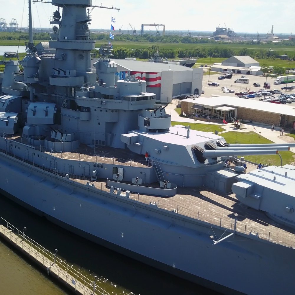 USS Alabama close-up during the Dragon Boat Festival