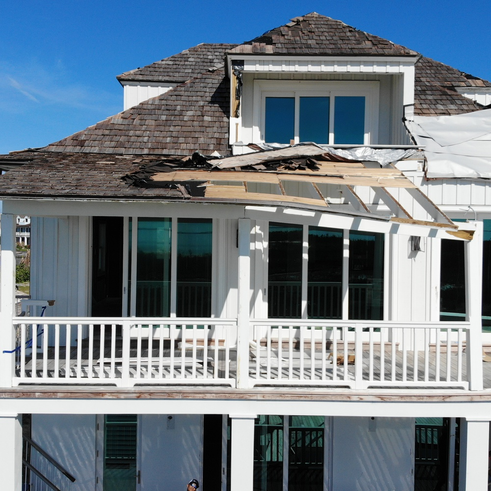 Damaged roof closeup