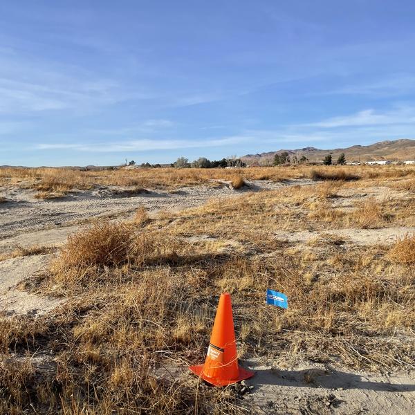Ground shot of vacant land w/cone & flag marking corner of land