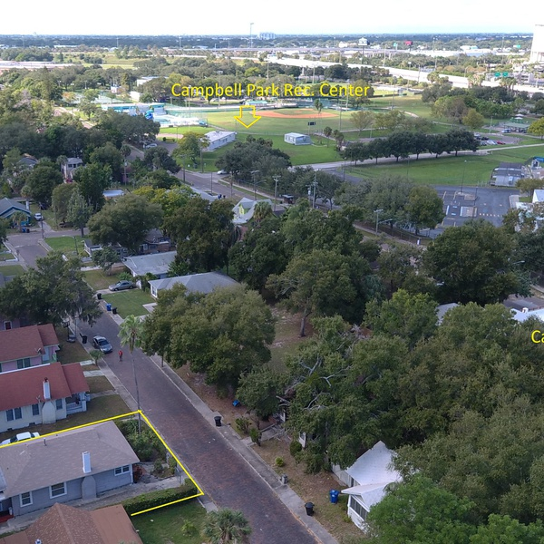 Residential aerial with graphics