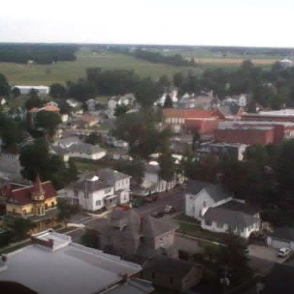 Flying over the home town