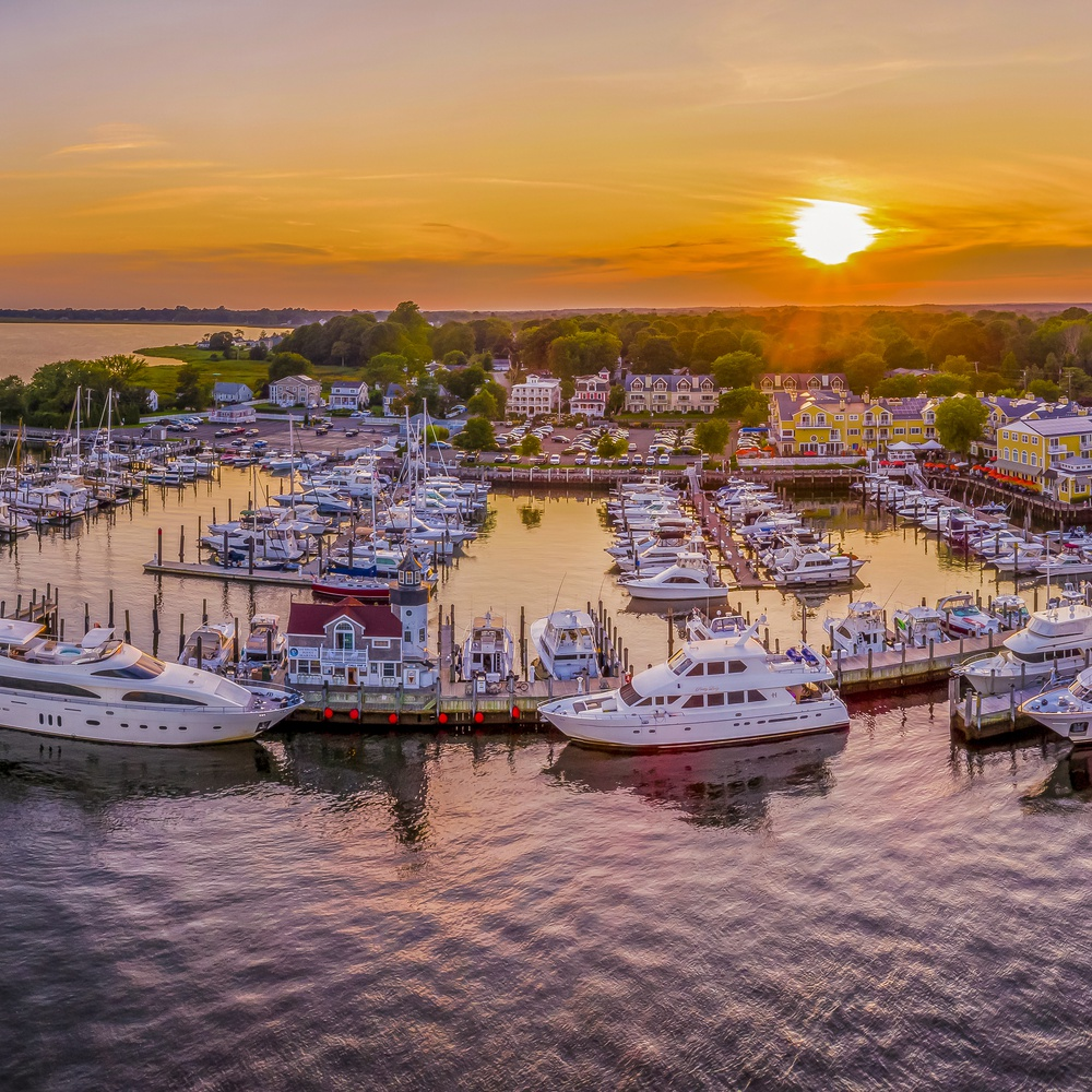 Marina Sunset Panoramic Image at Year-Round Waterside Resort in Old Saybrook