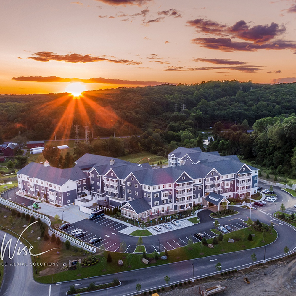 Sunset over newly built Brightview Senior Living in Shelton, CT